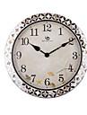 "18.4 ""H Country Style Motif floral Argent Polyrein Horloge murale"