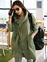 Women\'s Trench Coat Long Sleeve Spring / Fall Green Cotton / Polyester / Spandex / Others Medium