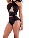solido set bikini nero delle donne, vita alta sexy capestro