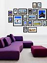 svart galleri collage tavelramar, set om 20