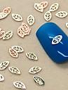 200pcs feuilles creuses faconnent or tranche nail art decoration en metal