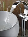 Rustique Set de centre Cascade with  Valve en laiton Deux poignees un trou for  Chrome , Robinet lavabo