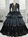 Victorian Flare Floor-length Black Polyester Retro Aristocrat Gothic Lolita Dress