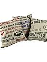 """Createforlife ® 18 """"Set de 3 Vintage Litere Locul Nume de bumbac Lenjerie Piața de pernă pernele de acoperire"""