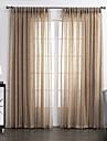 Två paneler Rustik Solid Beige Living Room Linne/Polyesterblandning Sheer gardiner Shades
