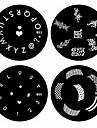 1st nail art stämpel stämpling bildmall platta B-serien No.53-56 (diverse mönster)