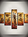 Hand Painted Oil Painting Leaves Couple Tree Abstract Paintings with Stretched Frame Set of 5