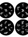 1st nail art stämpel stämpling bildmall platta B-serien no.1-4 (diverse mönster)