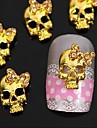10pcs   Golden Punk Skull With 3D Rhinestone Bow Tie Nail Art Decoration