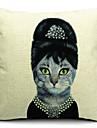 mrs katt bomull / linne dekorativa örngott