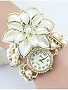 pentru Doamne Ceas La Modă Ceas Brățară Simulat Diamant Ceas Quartz imitație de diamant Aliaj Bandă Flori Perle Elegant Alb AuriuAlb