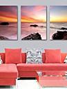 Sträckt Canvastryck konst landskap soluppgången på havet uppsättning av 3