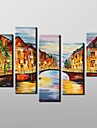 Hand Painted  Modern Landscape Oil Painting with Stretched Frame Set of 5