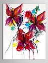 Yağ gerilmiş çerçeve elle boyanmış tuval soyut kırmızı kelebekler boyama