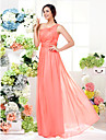 Floor-length Chiffon Bridesmaid Dress - Watermelon Plus Sizes / Petite Sheath/Column One Shoulder
