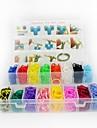 3200pcs couleur arc-en-style metier twistz bricolage bracelets en caoutchouc de silicone definies avec une meute de clips 16 couleurs