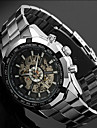 Men\'s Auto-Mechanical Skeleton Silver Steel Band Wrist Watch