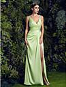 TS Couture® Prom / Formal Evening Dress - Sage Plus Sizes Sheath/Column V-neck Sweep/Brush Train Satin Chiffon