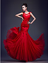 Formal Evening Dress - Ruby Trumpet/Mermaid Scoop Floor-length Chiffon/Lace