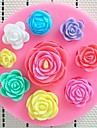 Rose Flower Fondant Cake Chocolate Resin Clay Candy Silicone Mold Mat,L9.7cm*W9.7cm*H1.3cm
