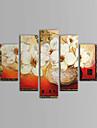 Peint a la main A fleurs/Botanique Cinq Panneaux Toile Peinture a l\'huile Hang-peint For Decoration d\'interieur