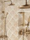 laiton antique robinet de douche baignoire avec douche tete 8 pouces + douche a main