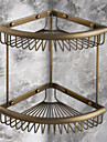 Antique Elegant Double Shelves Brass Material Bathroom Shelf