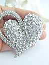 Women\'s Trendy Alloy Silver-tone Rhinestone Crystal Heart Wedding Bridal Brooch Pin