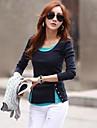 Women\'s Color Block Blue/Pink/Beige/Gray Blouse , U Neck Long Sleeve Button/Split
