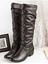 Chaussures Femme - Bureau & Travail - Noir / Marron / Blanc - Gros Talon - Bottes a la Mode - Bottes - Faux Cuir