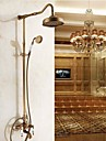 Antique BrassTwo Handles  Tub Shower Faucet with 8 inch Shower Head  + Hand Shower