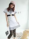 Coreea de modă butoane benzi fals două piese cu maneci scurte rochie alb