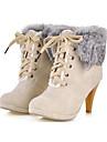 lacets imite cheveux cony embelli bottes courtes beige