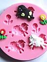 får och blommor fondant tårta silikonform kaka dekoration verktyg, l7.7cm * w7.7cm * h1cm