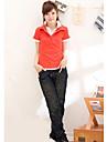 moda cu etaj guler cu maneci scurte tricou portocaliu