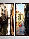 e-home® stretch panza de artă canal orasului set pictura decorativa de 2
