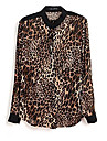 Women\'s Leopard Printed Casual Button Down Chiffon Shirt Blouse