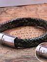 cuir bijoux cadeau personnalise acier inoxydable bracelet corde grave