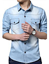 moda clasic bărbați s-a spălat denim cămașă cu mâneci lungi