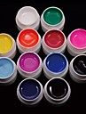 New 12PCS Mix Powder Pure Color UV Color Gel for Nail Art