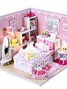 mini-villa rosa LED-ljus prinsessa sovrum modell DIY handgjorda trädocka hus