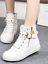 Femme Chaussures Toile Printemps Automne Talon Plat Boucle Fermeture Lacet Pour Decontracte Noir Blanc