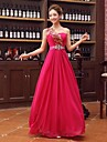 Formal Evening Dress - Fuchsia Plus Sizes A-line One Shoulder Floor-length Satin