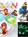 3d vägg klistermärken väggdekaler, lysande vackra fjäril pvc väggdekorationer (slumpvis blanda färger) (12 st)