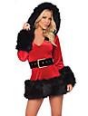Costumes de Cosplay Costumes de pere noel Fete / Celebration Deguisement Halloween Rouge Couleur Pleine Robe / Ceinture Noel Feminin