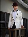 alb&negru solid tuxedo slim fit din poliester