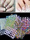 50pcs de style art mixs conception des ongles 3d fleur classique autocollants