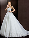 Lanting Bride® A-line Petite / Plus Sizes Wedding Dress Court Train Strapless Lace / Organza / Satin with
