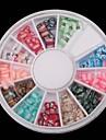 12 färgfjärilsserie mjuka keramik skivspelare nagel konst dekoration