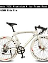 700C Bicicleta 7 Speeds 60MM Wide Rim TL ™ Aluminium Alloy Frame Double Disc Brake Bend Handlebar Road Bike
